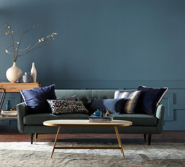 Aktuelle Wandfarben dunklere Pastelltöne in Blau und Dunkelgrün effektvoller Hintergrund