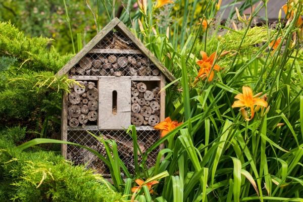 Insektenhotel basteln und den Frühlingsgarten mit freudigen Summen erfüllen blumen garten diy hotel