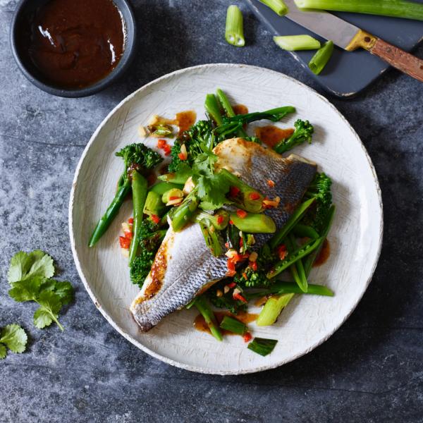 Karfreitag Fischtag Seebarsch mit Soja Knoblauch grünes Gemüse als Beilage