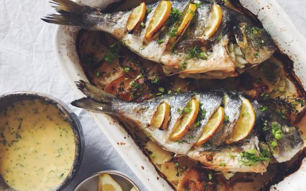 Karfreitag Fischtag gebratene Doraden mit Fenchel und Zitronenscheiben