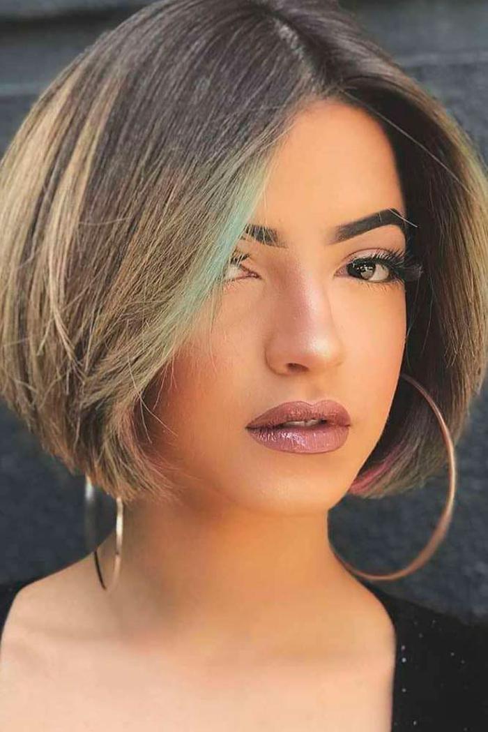 Kurzhaarfrisuren für feines Haar Bobschnitt gruen