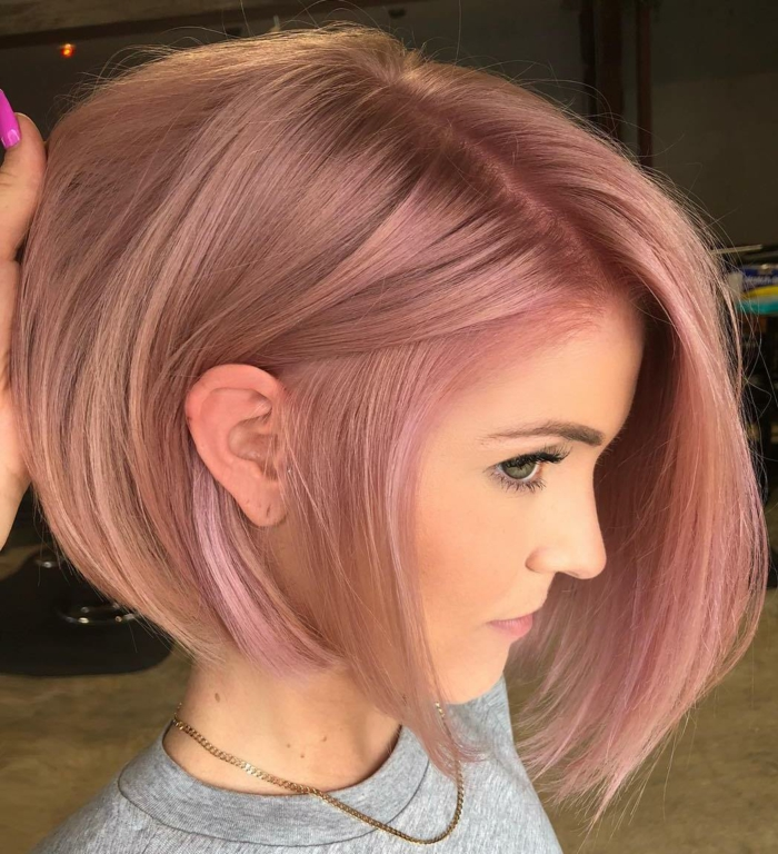 Kurzhaarfrisuren für feines Haar Bobschnitt vorn lang blass