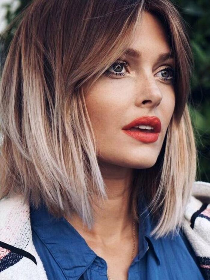 Kurzhaarfrisuren für feines Haar Bobschnitt vorn lang farbverlauf