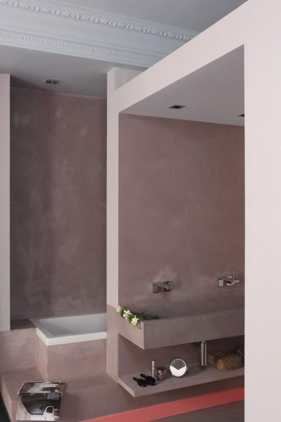 Mauve Farbe im Bad Unterschrank als Blickfang hellgrau und weiß Vintage Style ideen