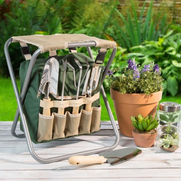 Originelle und praktische Geschenkideen für Gartenbesitzer im Frühling hocker mit werkzeuge zusammenfaltbar