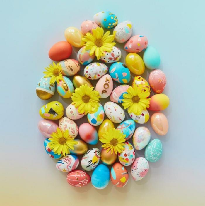 Ostereier bemalen Ideen kindgerecht farb
