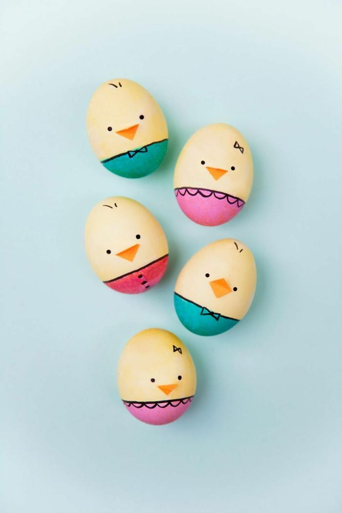Ostereier bemalen Ideen kindgerechte warme farben mit augen