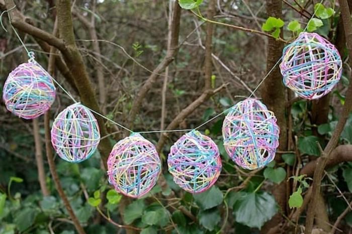 Ostergirlande basteln nachhaltig leben basteln mit luftballon