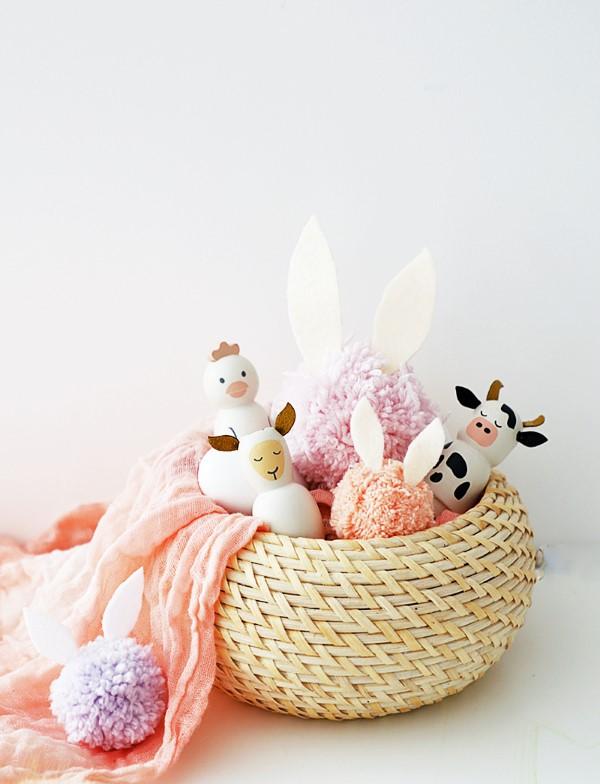 Osterkörbchen basteln – kreative Ideen, festliche Tipps und kinderleichte Anleitung zum Nachmachen kuscheltiere niedlich schön