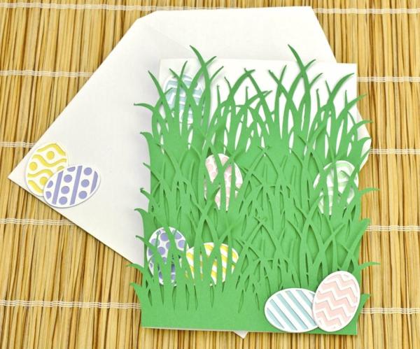 Osterkarten basteln Grusskarte Gras selber machen Basteln mit Kindern