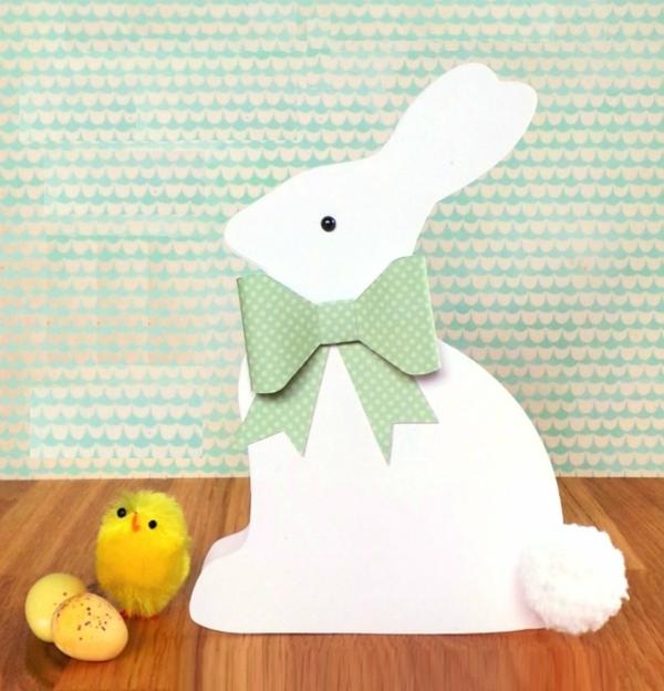 Osterkarten basteln Grusskarte Osterhase ausschneiden Basteln mit Kindern