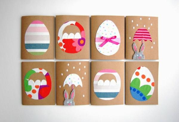 Osterkarten basteln Grusskarte bunter Eier selber machen Basteln mit Kindern