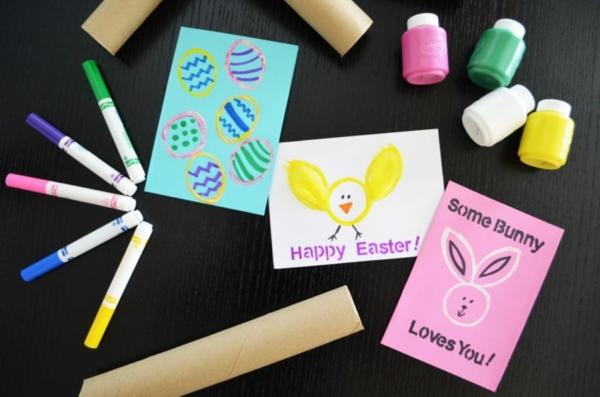 Osterkarten basteln Grusskarte selber machen Basteln mit Kindern
