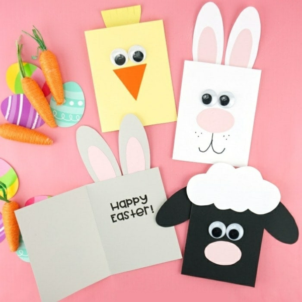 Osterkarten basteln Grusskarten Tiere Basteln mit Kindern