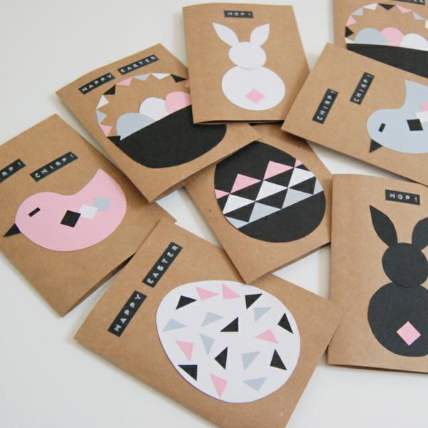 Osterkarten basteln Grusskarten zu Ostern Basteln mit Kindern