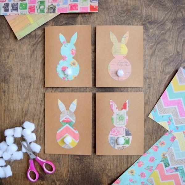 Osterkarten basteln Hase Bastelideen und Materialien Basteln mit Kindern