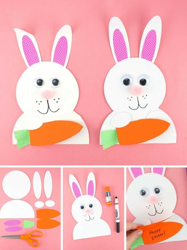 Osterkarten basteln Osterhase selber machen Basteln mit Kindern