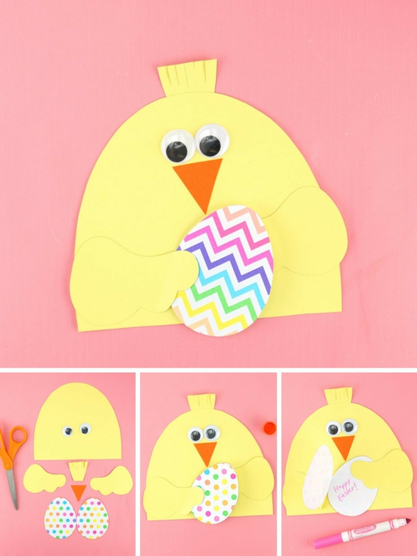 Osterkarten basteln Osterkücken gelb selber machen Basteln mit Kindern