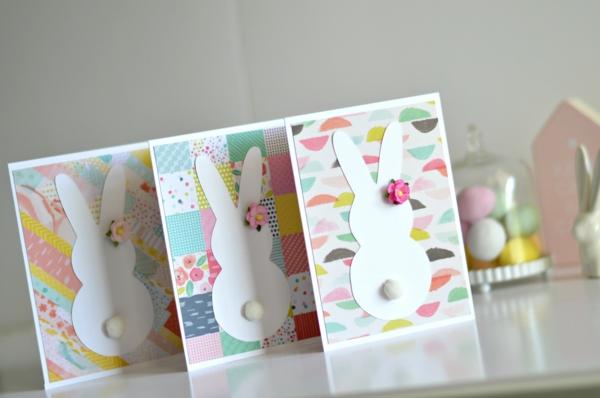 Osterkarten basteln Osterküken-Karte mit aufklappbarem Schnabel Anleitung