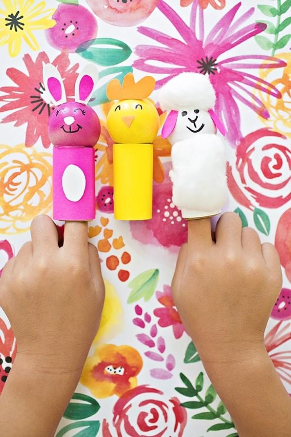 Osterlamm basteln – umweltfreundliche Ideen und kinderleichte Anleitungen kinder fingerpuppen lustig diy