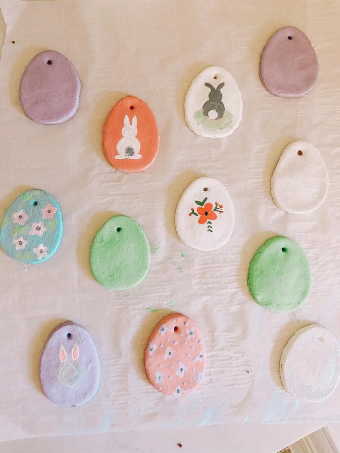 Salzteig Ostern Ideen basteln mit Kindern zu ostern elemente