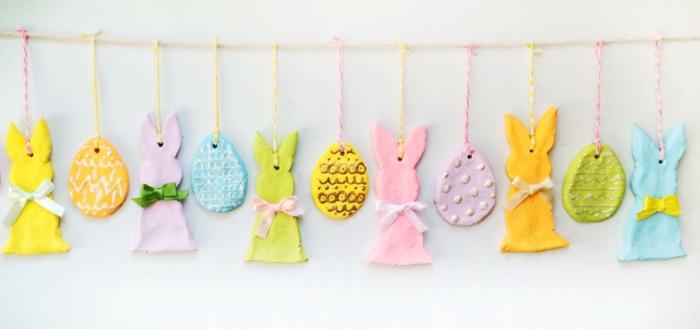 Salzteig Ostern Ideen basteln mit Kindern zu ostern haengende deko