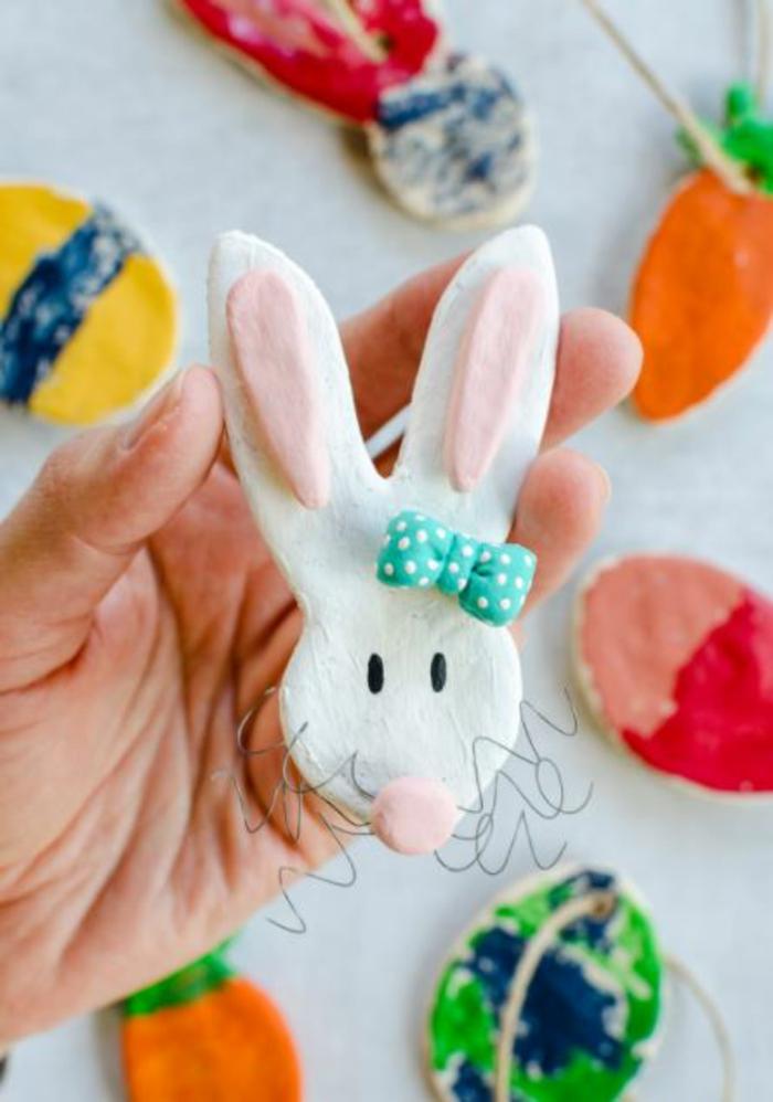 Salzteig Ostern Ideen basteln mit Kindern zu ostern hasi