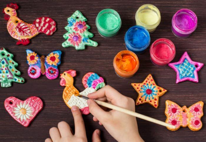 Salzteig Ostern Ideen basteln mit Kindern zu ostern lack