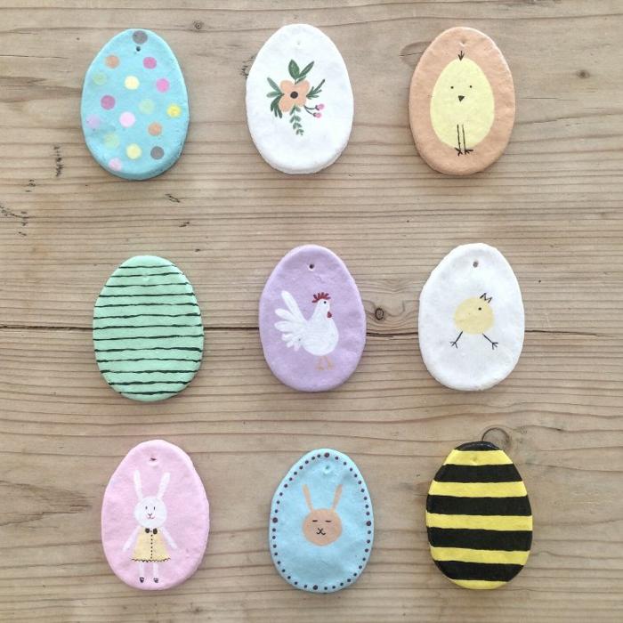 Salzteig Ostern Ideen basteln mit Kindern zu ostern ostereier bemalen