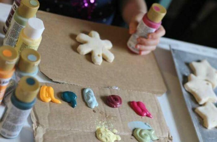Salzteig Ostern Ideen basteln mit Kindern zu ostern stern