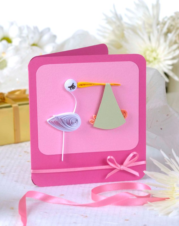 Storch basteln – frische Ideen und Anleitung zum Frühling baby party storch karte