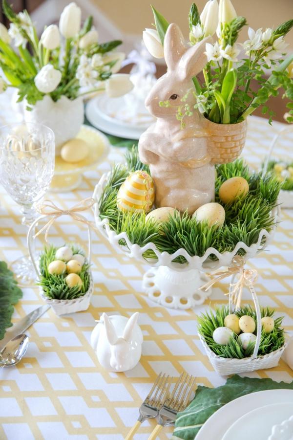 Tischdeko zu Ostern Ostertisch Osterhase Porzellan