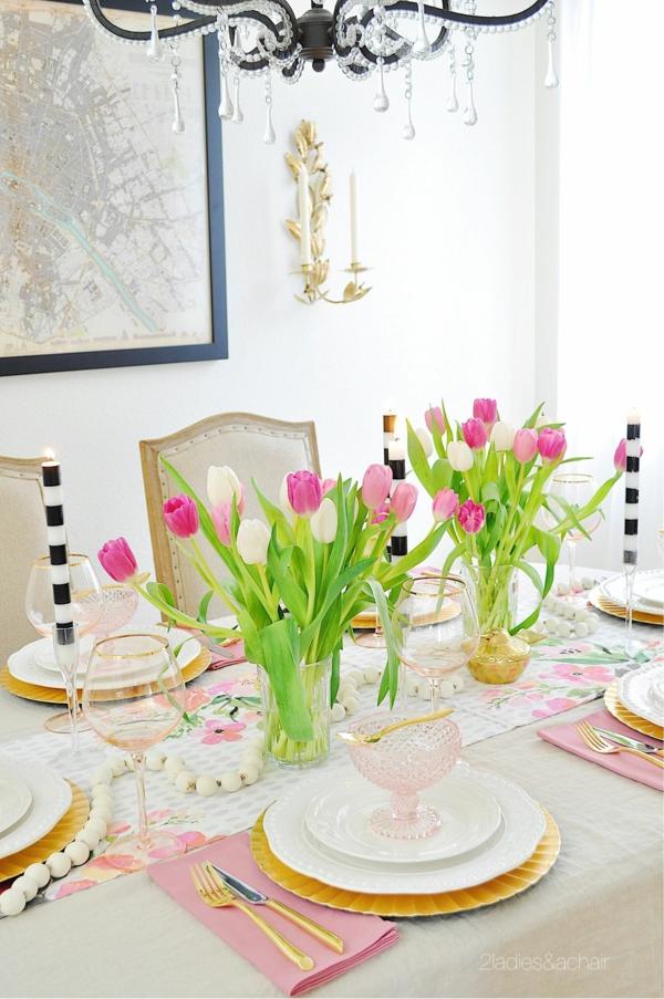 Tischdeko zu Ostern Ostertisch Tisch eindecken ´Tipps Tulpen