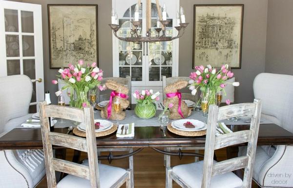 Tischdeko zu Ostern Ostertisch dekorieren Tischläufer Telleruntersetzer