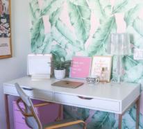 Tropische Deko im Home Office versetzt Sie an weit entfernte Orte
