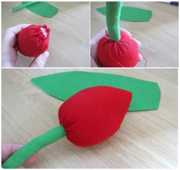Wie kann man Tulpen basteln - Nähanleitung DIY Tulpen aus Stoff selber nähen