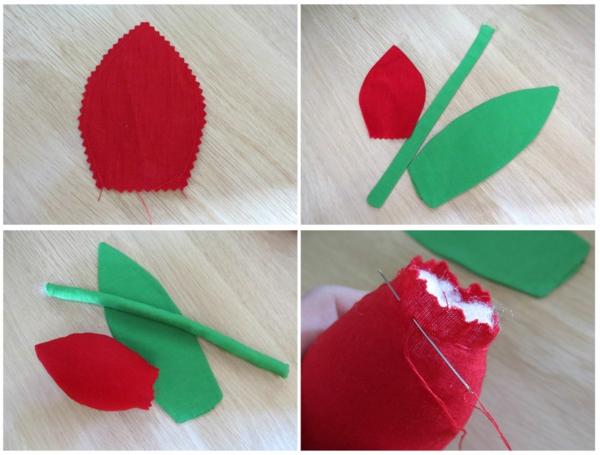 Wie kann man Tulpen basteln - Nähanleitung Stofftulpen nähen
