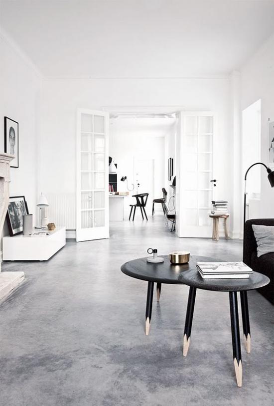 grauer Boden aus Beton glasiert Wohnzimmer minimalistische Einrichtung