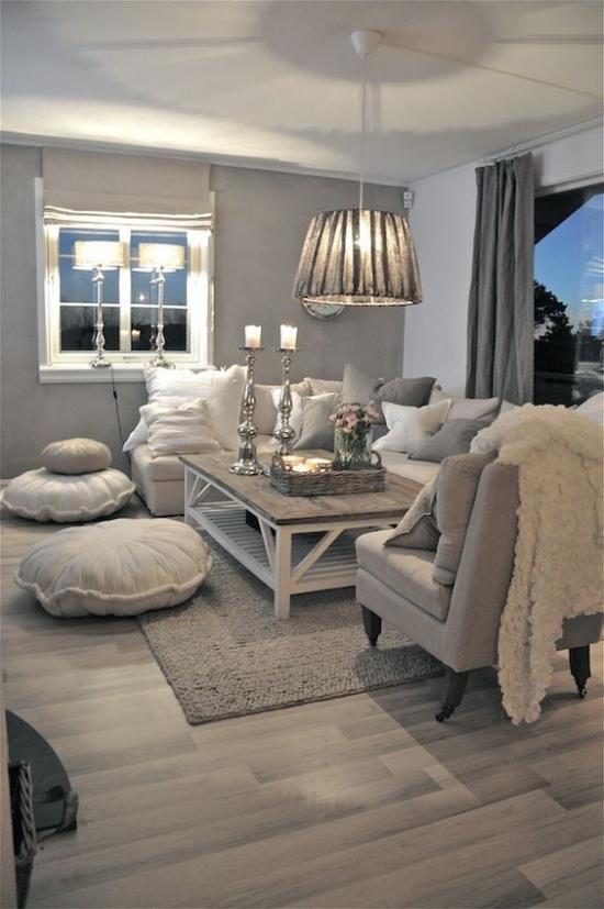 grauer Boden gemütliches Wohnzimmer bequeme Sitzecke Vintage Stil