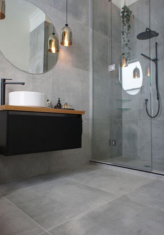 grauer Boden graue Fliesen perfekte Option für modernes minimalistisches Bad