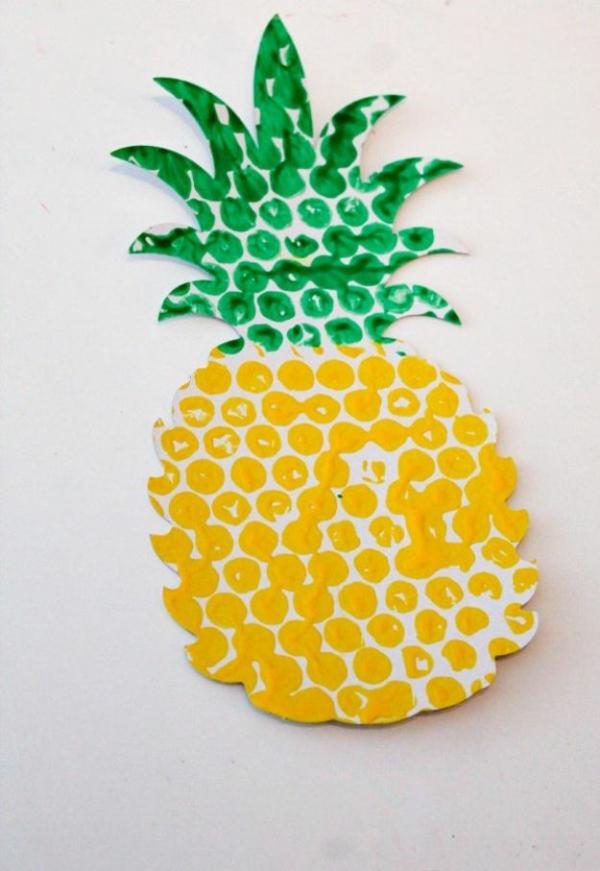 luftpolsterfolie ananas basteln