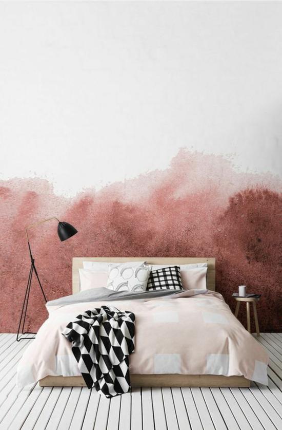 minimalistisches schlafzimmer streichtechniken wandgestaltung