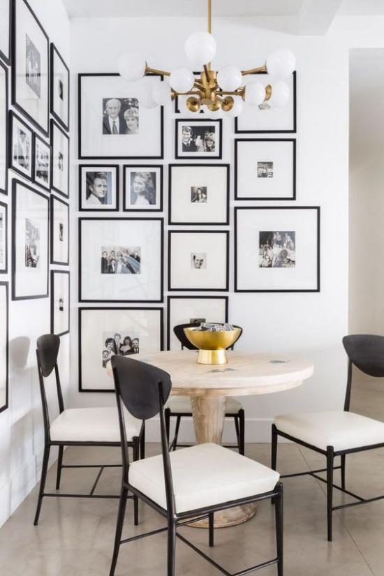 moderne Fotowand gestalten Kaffeeecke Salonhängung viele Bilder
