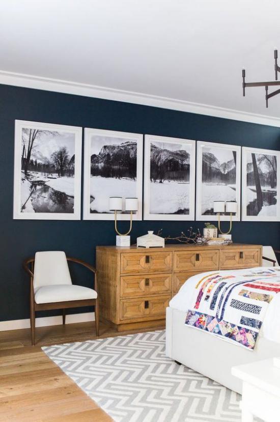 moderne Fotowand gestalten im Schlafzimmer bringt gewisse Dramatik in den Raum