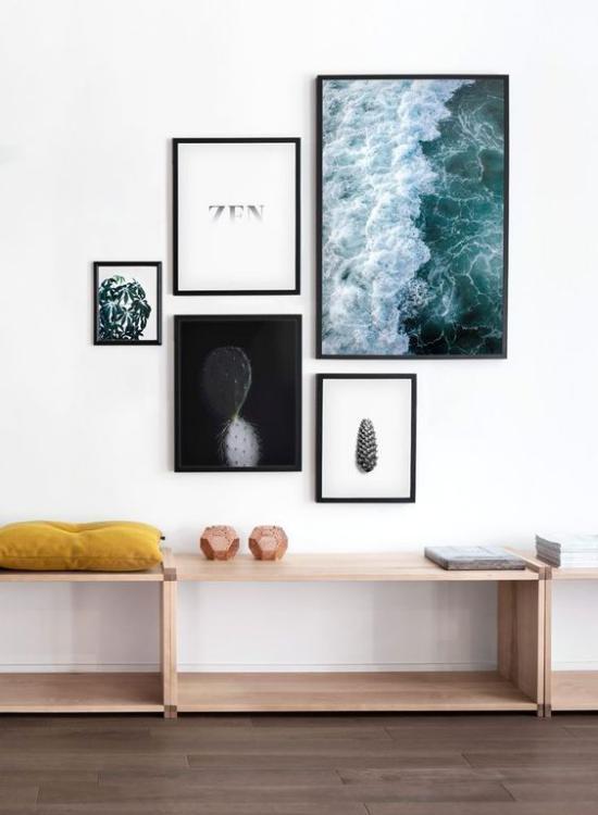moderne Fotowand im Wohnzimmer eine starke Aussagekraft der Bilder