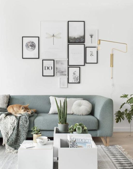 moderne Fotowand schickes Layout ohne Raster perfekt im modernen Wohnzimmer