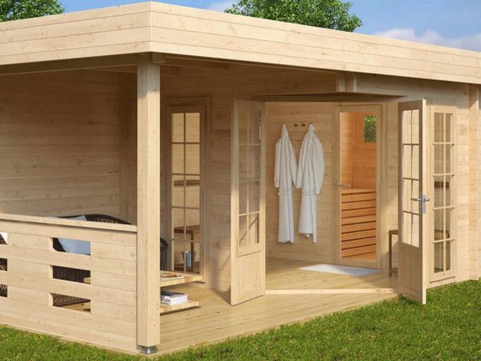 moderne gartenhäuser winter sauna