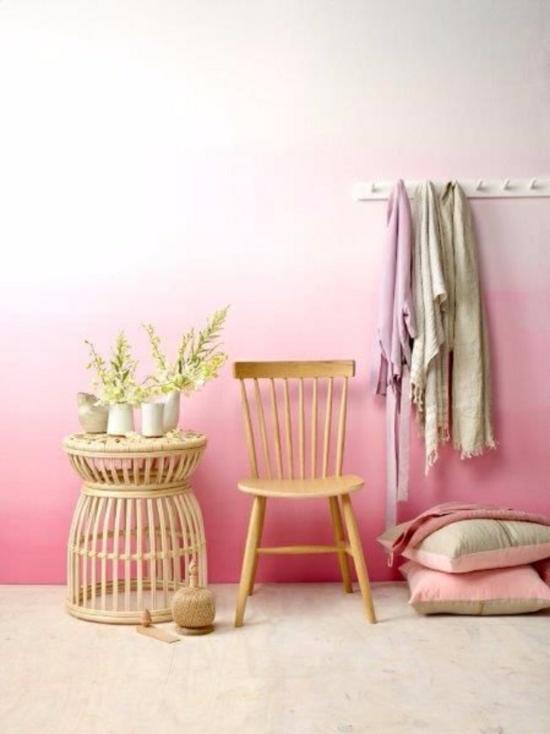 ombre streichtechniken rosa weiße wand streichen