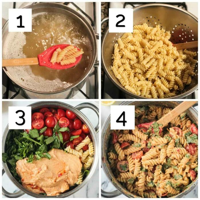 one pan pasta hummus