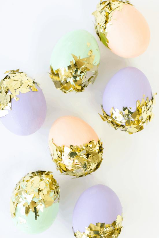 ostereier färben gold konfetti